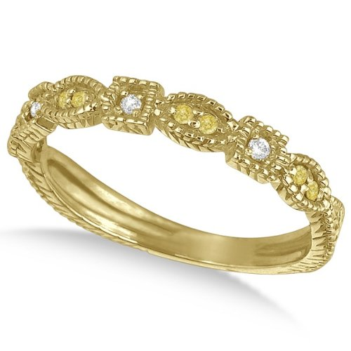 0.15Ct Fancy Yellow Canary Diamond And White Diamond Vintage Style Stackable Ring Band 14K Yellow Gold