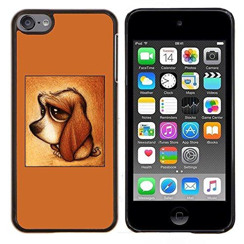Perrito lindo del perro del Dachshund de Brown triste - Aluminum Metal & plastica dura Phone caso - nero - iPod Touch 6