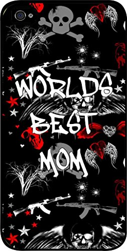 World'S Best Mom-Punk Style- Case For The Apple Iphone 5-5S Universal- Hard Black Plastic Snap On Case