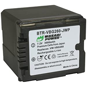 Wasabi Power Battery for Panasonic VW-VBG260 and Panasonic AG-AC7, AG-AF100, AG-HMC40, AG-HMC80, AG-HMC150, HDC-HS250, HDC-HS300, HDC-HS700, HDC-SD600, HDC-SD700, HDC-SDT750, HDC-TM300, HDC-TM700, SDR-H80 (3000mAh)