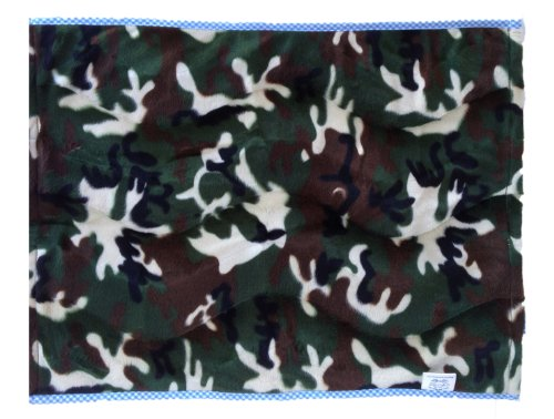 Patricia Ann Designs Camouflage Fleece Changing Mat with Check Trim, Blue