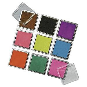 RAYHER - 7854149 - Scrapbooking Stempelkissen-Set, 3,5x3,5 cm, Set 9 Farben, gemischt
