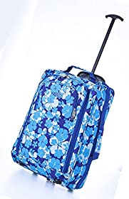 Frenzy/5Cities 55cm/50cm Lightweight Trolley Hand Luggage Bag - Approved Ryanair & Easyjet 2 Wheel Cabin Carry On Board Baggage. 33/42L Travel Suitcase Bag with Padlock. (50CM, Blue 285)