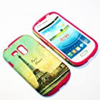 For Samsung Galaxy S3 Mini / S III Mini / I8190 Verizon, AT&T 2 in 1 Hybrid Cover Case Eiffel Tower Paris PC + Hot Pink Silicone