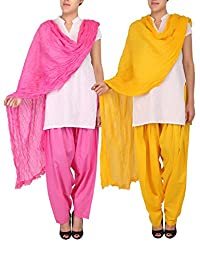 Womens Cottage Combo Pack Of 2 Pure Cotton Semi Patiala & Cotton Dupatta With Lace Set - B018PBHWRE