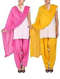 Womens Cottage Combo Pack Of 2 Pure Cotton Semi Patiala & Cotton Dupatta With Lace Set - B018PBHWRE