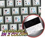 ARABIC RUSSIAN CYRILLIC ENGLISH NON-TRANSPARENT KEYBOARD STICKERS ON WHITE BACKGROUND FOR NETBOOK