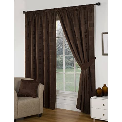 Impressions Milano Chocolate Fully Lined Readymade Curtain Pair 46x72in(116x182cm) Including One Pair Of Co-Ordinating...