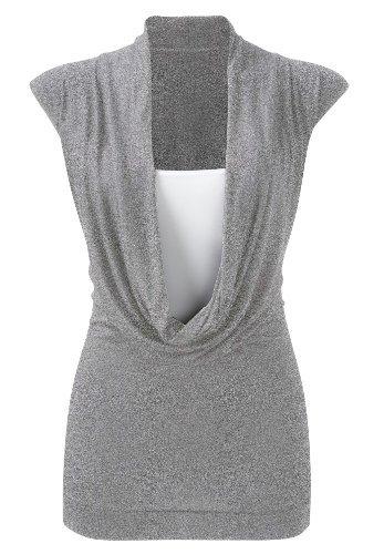 Purple Hanger - Damen Hemd Top Neu Gekräuselter Wasserfall Ausschnitt Ärmellos Dehnbar Übergröße - 48-50, Hellgrau