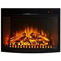 "Gibson Living Room Decor 26"" Curved Ventless Electric Space Heater Built-in Recessed Firebox Fireplace Insert from Moda Flame"