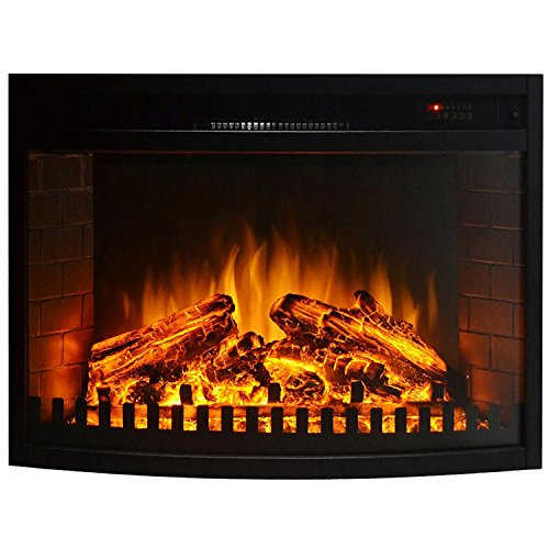 "Gibson Living Area Decor 23"" Curved Ventless Electric Space Heater Built-in Recessed Firebox Fireplace Insert"