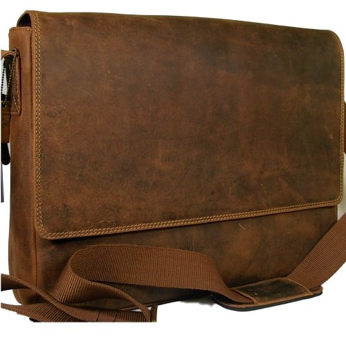 New Visconti dark tan leather laptop briefcase messenger bag 18516