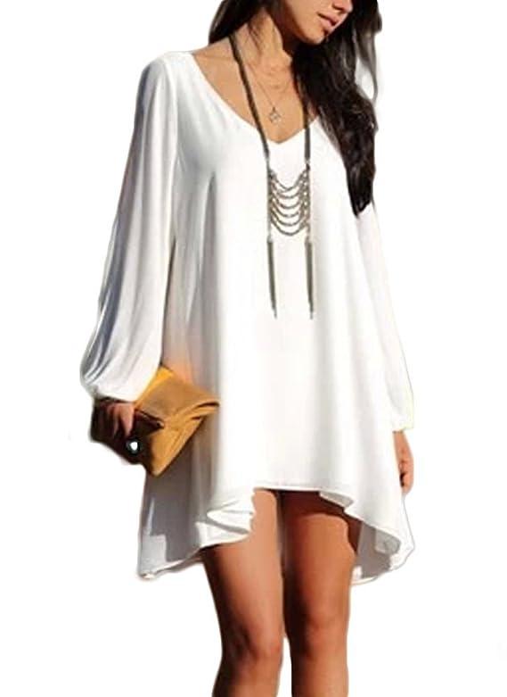 PAKULA Womens Off Shoulder V-neck A-line Mini Strapless Loose Casual Dress