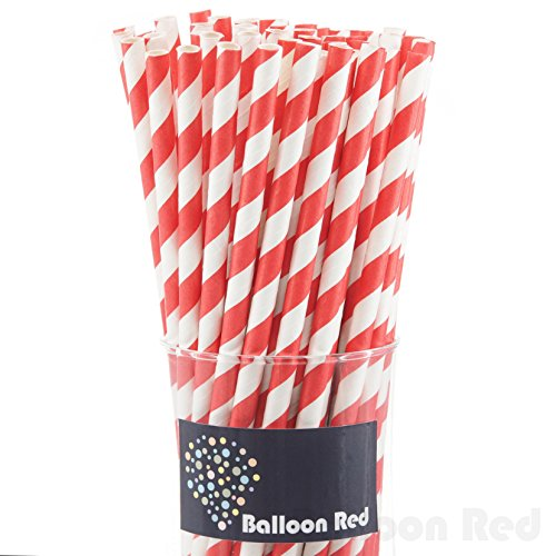 Biodegradable Paper Drinking Straws (Premium Quality), Pack of 100, Striped - Red
