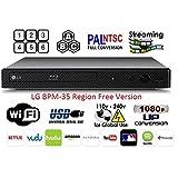 LG BPM-35 Region Free Blu-ray Player, Multi region Smart Wifi 110-240 volts, 6FT HDMI cable & Dynastar Plug adapter bundle Package (Color: Black)