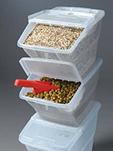 WTM CBCL-24 Stackable Bins with Hinged Lids, 24-Quart, Pack of 3 from WTM Enterprises, Inc.