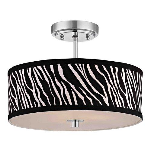 Chrome Ceiling Light With Zebra Print Drum Shade 14 Inches Wide Kamatimmonasa