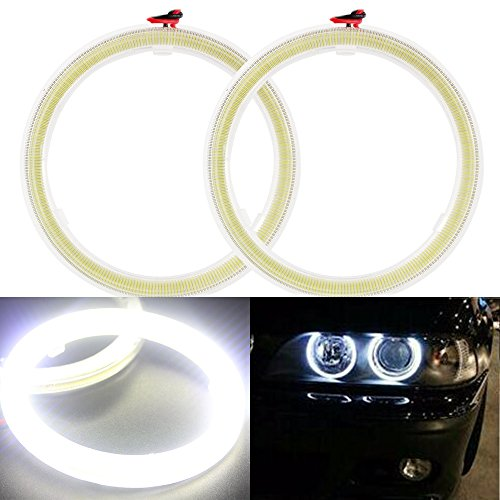 Everbrightt 1-Pair White 80MM 63SMD COB LED Angel Eyes With SHELL Halo Ring Bulb Fog light Lamps For Car (Angel Eyes Fog Lights compare prices)