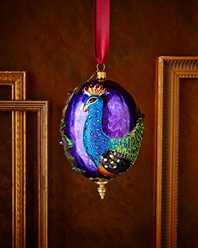 JAY STRONGWATER Peacock Oval Christmas Ornament
