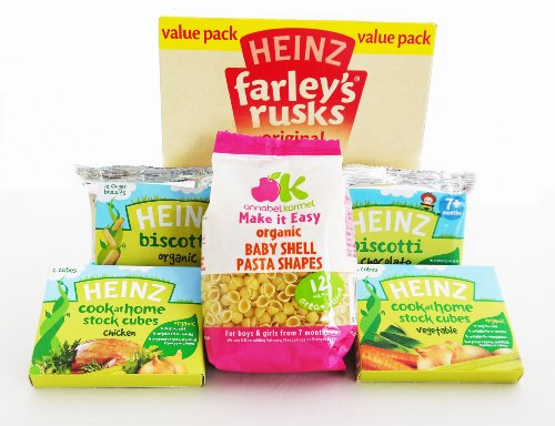 Baby Food Collection - Heinz Farleys Rusks, 2 x Biscotti, 2 x 6 pack Stock Cubes AND Annabel Karmel Baby Pasta