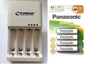 Contour 2 hour Rapid charger with 4x AA Panasonic Infinium