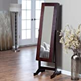Modern Jewelry Armoire Cheval Mirror - Espresso