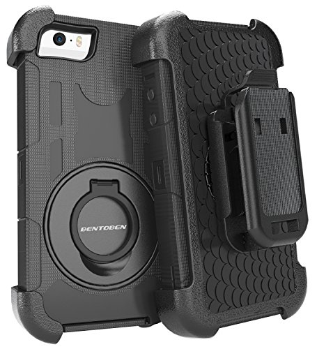 iPhone 5S Case, iPhone 5 Cases, BENTOBEN iPhone SE Case with Kickstand Swivel Belt Clip Holster Hybird Heavy Duty Dual Layer Soft&Hard Case for Apple iPhone 5 5S SE, Black (Iphone 5 Case With Clip compare prices)