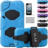 Pandamimi ULAK(TM) Full Protection Extreme Heavy Duty Water-Proof Sport Outdoor Case Cover Belt Clip for Apple iPod Touch 5 5th with Screen Protector (Blue)