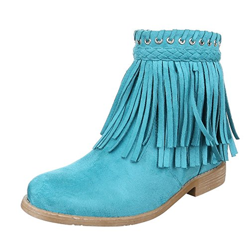 Ital-Design - Stivali western Donna , Blu (turchese), 38