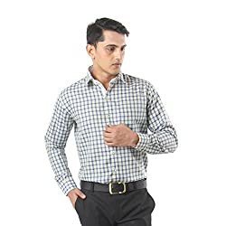 ZIDO Green Blended Men's Checks Shirts PCFLX1308_Green_38
