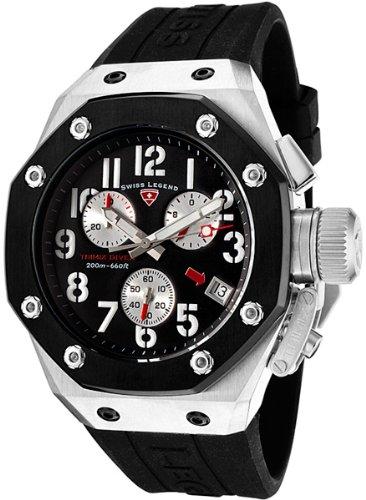 Swiss Legend Men's 10541-01-BB Trimix Diver Collection Chronograph Black Rubber Watch
