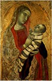 WallsnArt, Figurative Modern Framed Art Work Canvas Gallery Wrap,Madonna With Child, By Lorenzetti Ambrogio, 1320, 14th Century, Tempera On Panel.