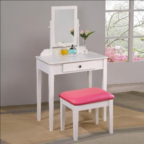 White Finish Make up Vanity Table with Pink Vinyl Seat Cushion Bench & Mirror