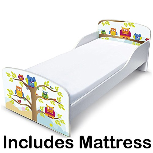 PriceRightHome Owls Design Toddler Bed no storage + Deluxe Mattress