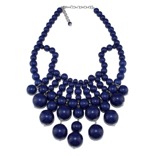 Bubble Bib Statement Necklace Chain Fashion Jewelry Gift Navy Blue