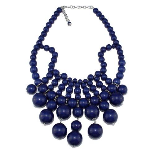 Bubble Bib Statement Necklace Chain Fashion Jewelry Gift Navy Blue