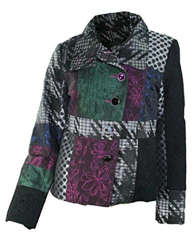 #680 Damen Luxus Designer Patchwork Winter Mantel kurz Stickerei Neu 36 38 40 42 (40)
