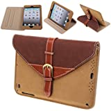 360° Rotating Belt Leather Case Smart Cover Stand for iPad 2, 3 & 4 - Brown