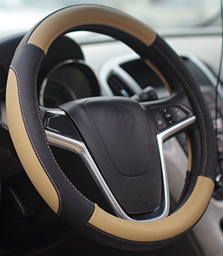 Mayco Bell Car Steering Wheel Cover 15 inch No Smell Comfort Durability Safety (Black Beige) (Steering Wheel Cover Bell compare prices)