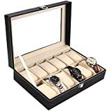 Ohuhu® Deluxe Watch Leather Box Jewelry Storage Organizer, Glass Top Jewelry Case Organizer / Watch Box / Watch Jewellery Display Storage Holder Case, 12 Total Unit Spaces with 12 Removal Storage Pillows, Black