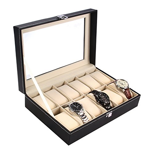 Ohuhu® 12-Slot Leather Watch Box / Watch Case / Jewelry Box /Watch Jewelry Display Storage with Glass Top and 12 Removal Storage Pillows, Black
