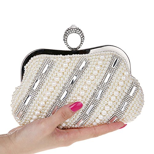 TopTie Oversized Pearl Beads / Rhinestone Purse, Bridal Evening Out Clutch IVORY