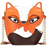 Yazilind Brown Lovely Fox Pu Leather Chain Shoulder Handbag Tote Bag For Girls Women