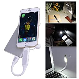 Laptop USB Light For Reading - Keyboard Light for Laptop with Charging Port Compatible iPad iPhone 5/5C/5S/6/6 Plus - Best USB Computer Led Light - Mosquito Repellent Lights - Lifetime Warranty! (White)