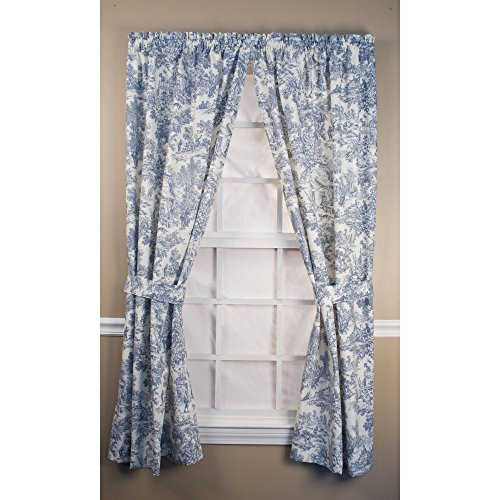 Ellis Curtain Victoria Park Tailored Curtain Panel with Ties - One Pair (Toile Kitchen Curtains compare prices)