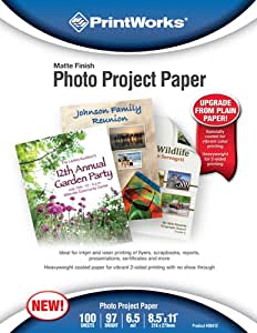 Printworks Photo Project Paper, Matte Finish, Double-Sided, 6.5 Mil, Inkjet and Laser, 100 Sheets, 8.5 x 11 Inch (00412)