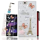 Ancerson 3D Handmade Luxury Shining Glitter Crystal Diamond Rhinestones Hard Back Case Cover for Sony Xperia Z Ultra XL39h C6802 C6806 C6833 Free with a Red Stylus Touchscreen Pen, a 3.5mm Universal Crystal Diamond Rhinestones Bling Lovely Silvery Flower Blue Panda Pendant Dust Plug and a Cleaning Cloth(Transparent Clear Case) (Golden Pink Dress Ballerina Dancing Girl Pink Butterfly Golden Romantic France Paris Eiffel Tower Silvery LOVE White Pearls Bow Bowknot Pink Bow Bowknot Crystal Diamond Lens Ring)
