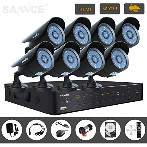 Sannce New 8Ch Hdmi Cctv H.264 Real-Time Dvr 1Tb Hard Drive Pre-Installed + 8 800Tvl Outdoor Vandalproof Security Surveillance Camera System W/ Internet Access, Smartphone Scan Qr Code Quick Remote Viewing (Black)