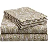 Pointehaven Heavy Weight Printed Flannel Sheet Set, California King, Paisley