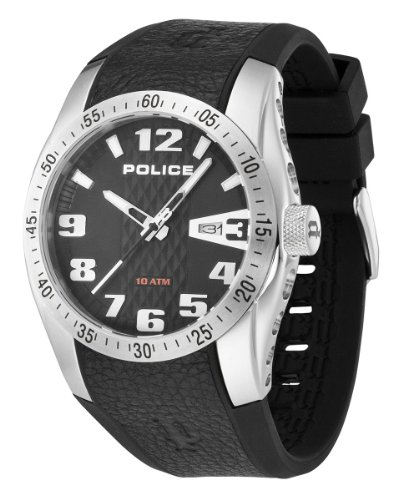 Police Men's Quartz Watch with Black Dial Analogue Display and Black Rubber Strap PL-12557JS/02A